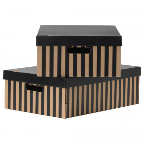 Коробка с крышкой ПИНГЛА черный, естественный фото 0